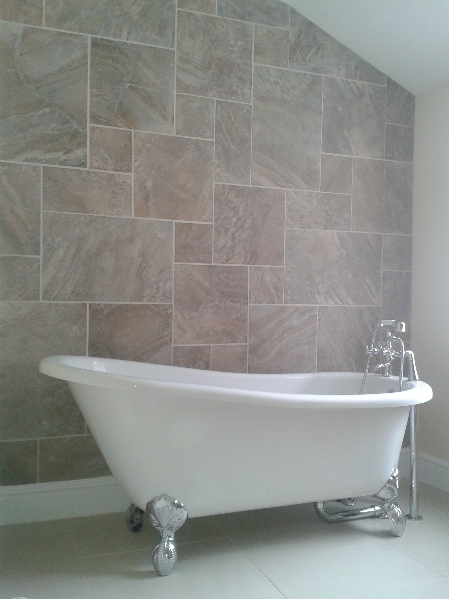 Bedroom to bathroom conversion feature wall