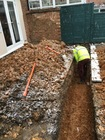 Footings to 2.1m depth for uncovering routes of soil pipes